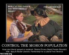 OBAMA CARTOONS: Conservative Political Humor: CONTROL THE MORON POPULATION: Have Liberals Spayed or Neutered.