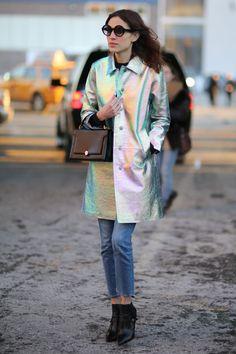 alexa chung's iridescent trenchcoat