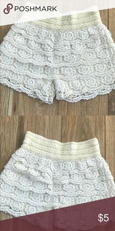 Crochet shorts Ivory crochet shorts with lining Shorts