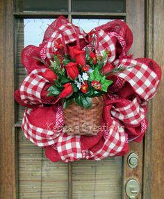 Red Rose Gingham Burlap Deco Mesh Wreath by keenascreations