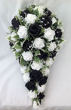 Artificial wedding flowers – brides teardrop bouquet in white and black roses - Modern Gold Bouquet, Cascading Wedding Bouquets, Wedding Flower Arrangements, Bride Bouquets, Wedding Flowers, Wedding Dresses, Black And White Wedding Theme, Black And White Roses, Black Rose Bouquet