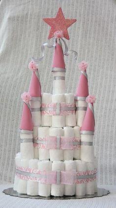 Castle Shaped Diaper Cake. $45.00, via Etsy. #babyshower #diapercake