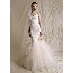 lace and tulle bottom mermaid wedding dress
