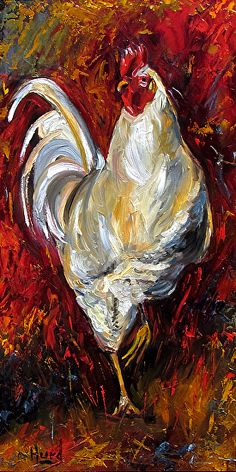 "Contemporary Artists of Texas: Rooster Art Original Oil Painting Farm Animal Paintings Fine Art ""Happy Hank"" by Debra Hurd Farm Paintings, Animal Paintings, Watercolor Paintings, Painting Abstract, Acrylic Paintings, Abstract Landscape, Rooster Painting, Rooster Art, Chicken Painting"