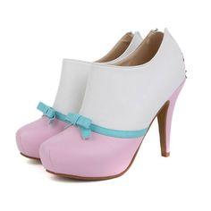 Beautiful PU Pink Bowknot Round Closed Toe Stiletto High Heel Boots