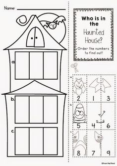 Halloween Haunted house gluing flap activity page Halloween Worksheets, Halloween Math, Halloween Crafts For Kids, Halloween Activities, Holiday Activities, Halloween Themes, Fall Preschool, Preschool Activities, Halloween Infantil