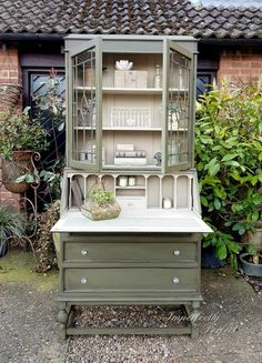 Vintage bureau bookcase, shabby chic in Annie Sloan's Olive and Country Grey, by Imperfectly Perfect xx