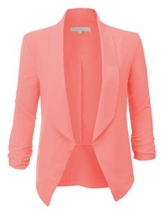LE3NO Womens Lightweight Ruched 3/4 Sleeve Open Front Blazer Jacket   LE3NO