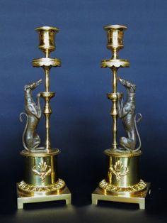 Paire de flambeaux Empire en bronze