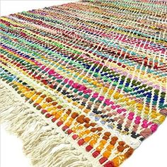 Eyes of India - 3 X 5 ft Multicolor Colorful Chindi Woven Area Rag Rug White Rug Braided Boho Chic Decorative Indian Bohemian Accent Handmade Handwoven Diy Carpet, Rugs On Carpet, Indian Rugs, Leftover Fabric, Fabric Strips, White Rug, Weaving Techniques, Rugs Online, Woven Rug