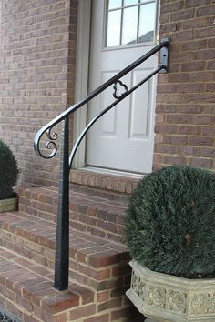 Installation 9/12/13 Lexington | hand forged steel with hand… | Flickr Step Railing Outdoor, Porch Step Railing, Porch Handrails, Outdoor Stair Railing, Metal Handrails, Wrought Iron Stair Railing, Wrought Iron Decor, Metal Stairs, Porch Steps