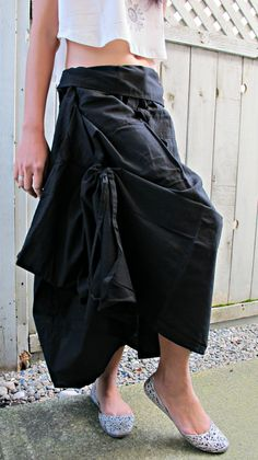New Black Wrap Skirts SK003a by Siamurai on Etsy