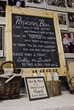 Popcorn bar at a Wedding #wedding #popcorn