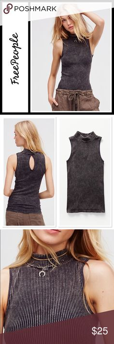 Free People No Looking Back Washed Cami NWOT Super stretchy sleeveless layering top featuring a mock neck and cute back keyhole cutout. Ribbed fabrication with a washed design for a lived-in look. Size is small/XS   Measurements for size Extra Small / Small Bust: 23 in Length: 23 in Free People Tops