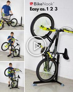 Bike/bicycle floor stand that stores your bike vertically. Perfect for small apartment, dorm and garage bike storage Diy Bike Rack, Bike Hanger, Bike Storage Rack, Bicycle Rack, Garage Storage, Bicycle Shop, Bmx Bicycle, Bicycle Stand, Garage Organization Bikes