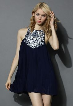 Fantasy Pleats Cutout Embroidered Dress