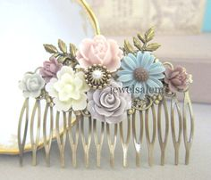 Wedding Hair Comb Bridal Comb Dusty Pink Gray Blue by Jewelsalem