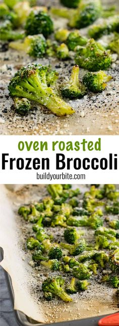Oven roasted frozen broccoli is a dinner time game changer. Need a vegetable sid… Oven roasted frozen broccoli is a dinner time game changer. Need a vegetable side dish in a hurry? This is your answer! NO thawing and ready for the oven in two minutes! Frozen Broccoli Recipes, Roast Frozen Broccoli, Frozen Vegetable Recipes, Veggie Recipes, Vegetarian Recipes, Healthy Recipes, Healthy Food, Delicious Recipes, Keto Recipes