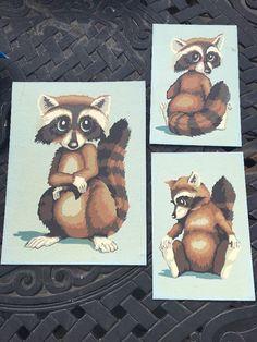 Vintage Raccoon Trio Paint by Number | eBay