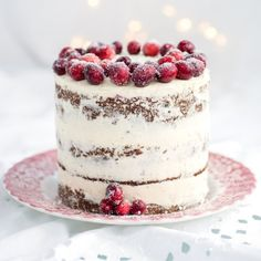 Festive cranberry, orange and walnut Layer Cake with whipped mascarpone frosting.