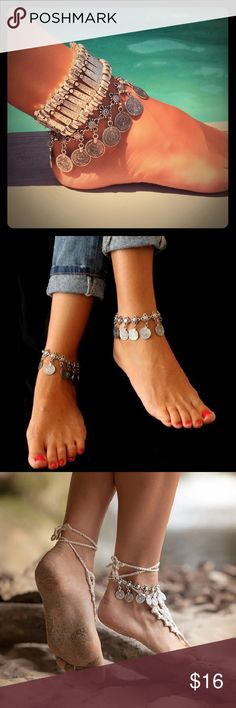 """Boho Coin Anklet / Bracelet  Antique Silver tone coin bracelet / anklet. 1st and last photo are of actual item. Measures 10"""" (including extender). Can be worn as a bracelet or anklet.  Top bracelet / anklet in first photo also available in my closet. Jewelry"""