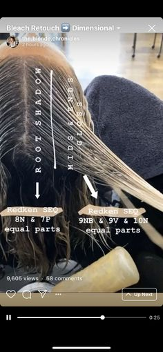 Redken Color Formulas, Hair Color Formulas, Hair Color Placement, Redken Hair Color, Redken Hair Products, Balayage Technique, Colored Hair Tips, Hair Color Techniques, Brown Blonde Hair