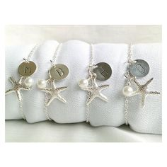 Set Of 4 Personalized Starfish Bridesmaid Bracelets, Beach Wedding... ❤ liked on Polyvore featuring jewelry, bracelets, beach jewelry, star fish jewelry, starfish jewelry, beachy jewelry and starfish bangle