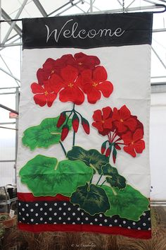 "Red Geranium flag...a great ""welcome"" to your landscape and home!  It's 3-D.  The Barn Nursery, Chattanooga"