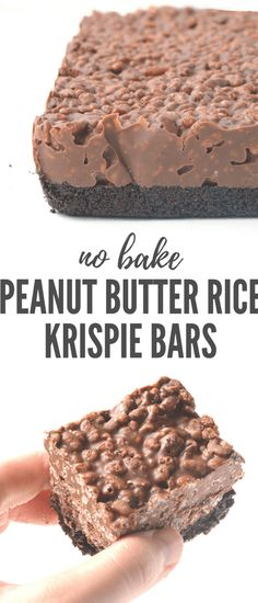 Amazing no bake Peanut Butter Rice Krispie Bars with an Oreo crust. You only need 6 ingredients to make these gorgeous chocolate treats! Recipe from Soft Chocolate Chip Cookies, Chocolate Treats, Chocolate Peanut Butter, Chocolate Muffins, Chocolate Brownies, Rice Krispie Bars, Rice Krispies, Pecan Pie Filling, Cinnamon Roll Cookies