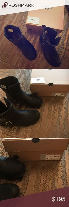 UGGS LEATHER Real leather with UGG filling so feet are cozy, gently worn UGG Shoes Ankle Boots & Booties