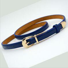 Candy Color del Metal hebilla delgada cinturones casuales para para mujer mujeres correa de cuero correas de la pretina Cummerbund para accesorios de prendas de vestir