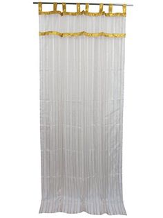 Indian Organza Curtain White Golden Sari Drapes , Indian sarees curtain made of sari allow light in through windows but prevent people looking in when they are drawn. Orange Curtains, Tab Top Curtains, White Curtains, Drapes Curtains, Drapery, Window Panels, Panel Doors, India Decor, Sheer Drapes