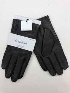 3f1571806 Calvin Klein New Leather Gloves Mens Medium $70 Retail Black TouchScreen NEW  #fashion #clothing