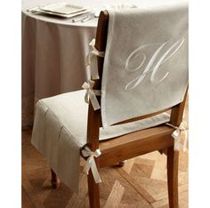French Laundry Home Chair Pad With Monogrammed Slipcover. Chair Pad With  Box Pleats, X X Slipcover, X