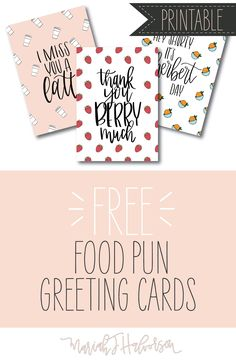 3 Adorable Food Pun Greeting Cards - Get them at Mariah J Halvorson | Invitation Design & Lettering blog!