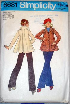 Vintage Simplicity 1970s Pattern 6681 - Misses' Topper. Fun, Flared Collar. Pleated back