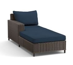 Torrey Sectional Right-Arm, Left-Arm Chaise Cushion Slipcover, Solid Outdoor Canvas, Blue Ink