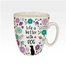 16633A.jpg An ideal gift for any proud dog-owner who loves a cuppa. This cute ceramic mug features images of Black Labradors printed around it and the text 'Life is better with a Dog - something all dog-lovers can agree with! Dishwasher and microwav