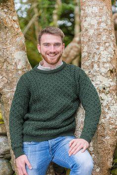 51b18b8eefaed5 Aran Wool Sweater Mens - Pine Green (C1949)  leevalleyireland   granddadshirt  flannelshirts