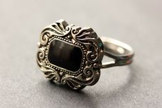 Gothic Ring. Button Ring. Black and Silver by StumblingOnSainthood