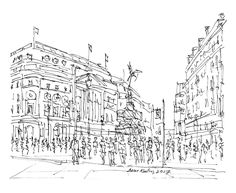 Piccadilly Circus London - Drawing,  22x18  ©2017 by Brian Keating -                                                            Illustration, Impressionism, Minimalism, Modernism