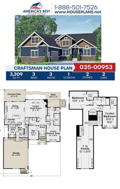 Covered in Craftsman details, Plan 035-00953 is featured with 3,309 sq. ft., 3 bedrooms, 3.5 bathrooms, a mud room, a kitchen island, and a vaulted owners suite. Get more information about this Craftsman design on our website. Craftsman Style Homes, Craftsman House Plans, Floor Plan Drawing, Construction Drawings, Floor Framing, Best House Plans, Entry Hall, Closet Bedroom, Architectural Elements