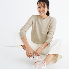 Easy. Cozy. Cool. This pullover sweatshirt is embroidered with a sweet reminder that spring is around the corner (in the form of daisies). <ul><li>True to size.</li><li>Cotton.</li><li>Machine wash.</li><li>Import.</li></ul>