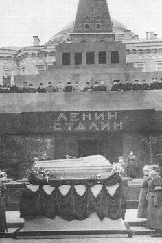 In 1953, Stalin's remains were ceremoniously taken to Lenin's mausoleum on Red Square.  They were removed 8 years later and reburied near the Kremlin wall, where they remain today.