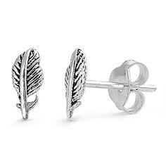 Feather Stud Earrings Sterling Silver - 8mm