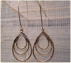 Delicate gold teardrop dangle earrings. $22.00, via Etsy.