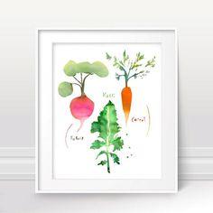 Vegetable art print for kitchen Colorful wall art Watercolor Nursery decor Turnip illustration Kale illustration Carrot illustration