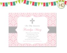 First Communion Invitation, Communion Party, First Holy Communion Announcement, Photo Communion Invitation on Etsy, $12.00