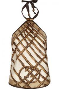 Gucci Bamboo-print silk scarf top