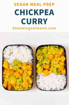 This vegan Pumpkin Chickpea Curry recipe is easy, healthy, rich in protein and delicious. It's great for meal prep and very comforting! Easy Vegan Lunch, Vegan Meal Prep, Vegan Meals, High Protein Vegan Recipes, Delicious Vegan Recipes, Tasty, Pumpkin Curry, Vegan Pumpkin, Vegan Chickpea Curry